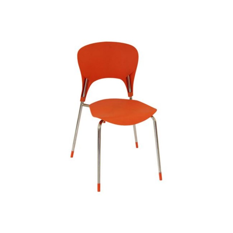 """Καρέκλα """"ISIS"""" χρωμίου-πολυπροπυλενίου σε χρώμα πορτοκαλί 50x52x79"""