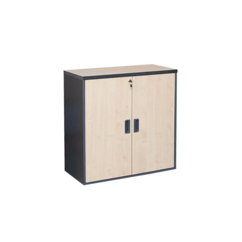 Ντουλάπι χαμηλό σε χρώμα σκούρο γκρι και οξυά 80x40x82