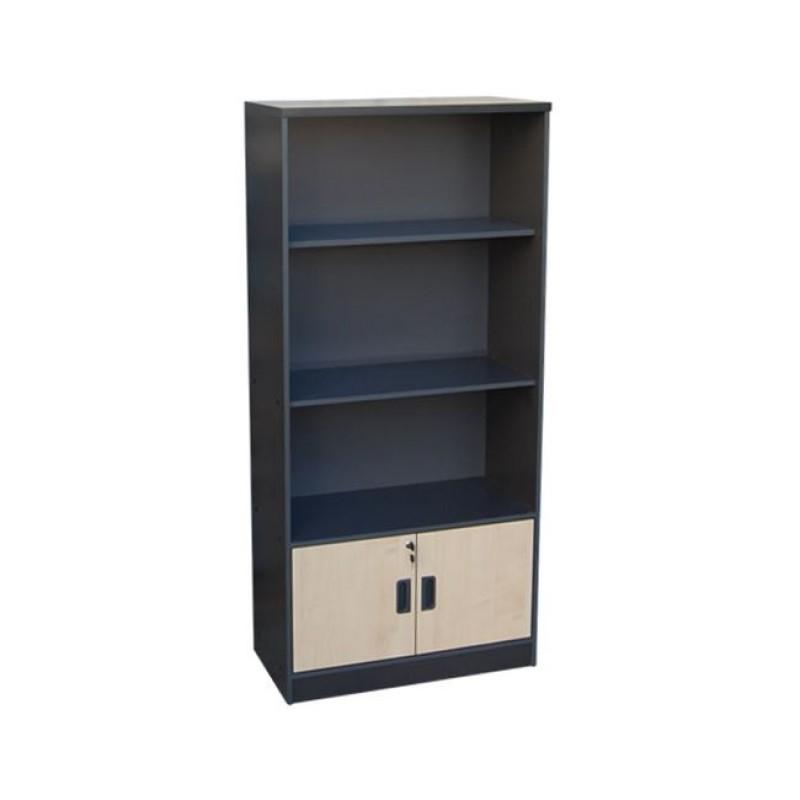 Βιβλιοθήκη σε χρώμα σκούρο γκρι με οξυά 80x40x172