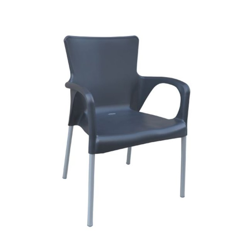"""Πολυθρόνα """"LARA"""" από πολυπροπυλένιο σε ανθρακί χρώμα 55x52x85"""