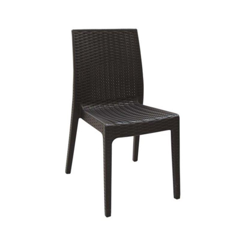"""Καρέκλα """"DAFNE' πολυπροπυλένιο σε καφέ χρώμα 46x55x85"""