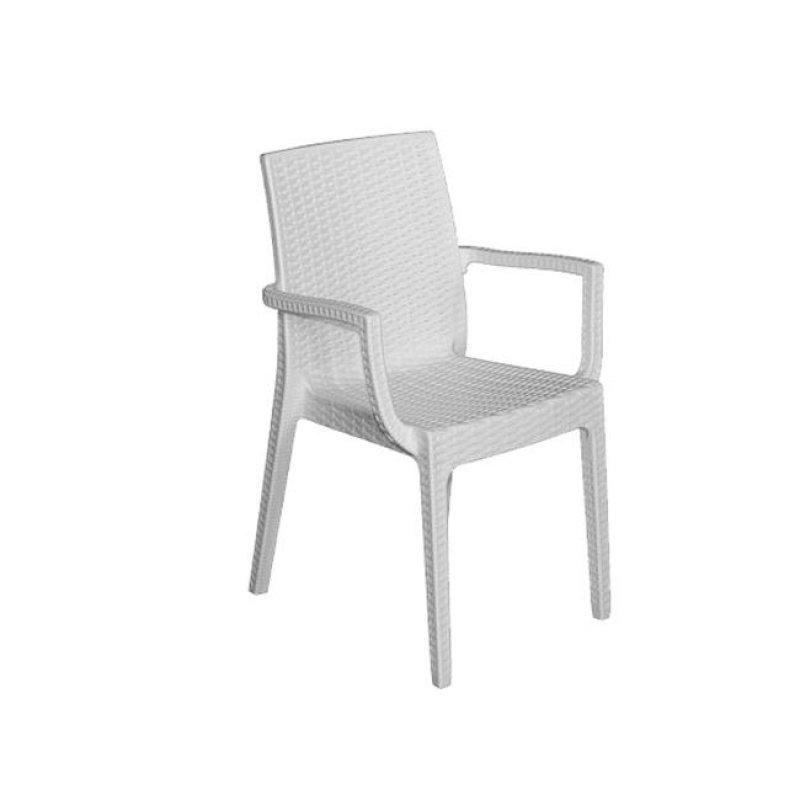 """Πολυθρόνα """"DAFNE"""" πολυπροπυλένιο σε λευκό χρώμα 54x55x85"""