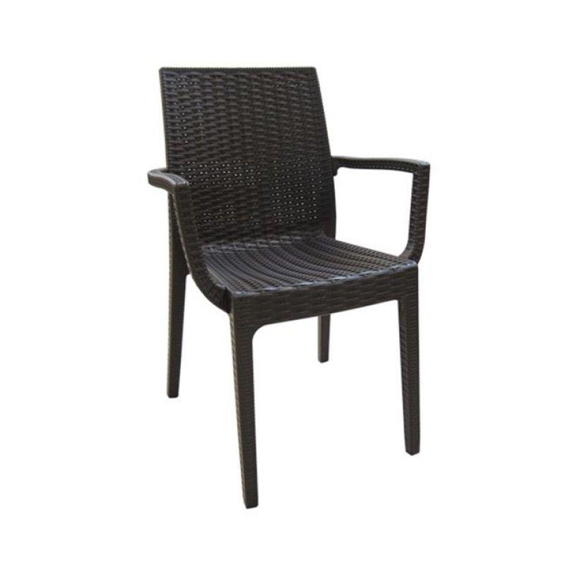 """Πολυθρόνα """"DAFNE"""" πολυπροπυλένιο σε χρώμα καφέ 54x55x85"""