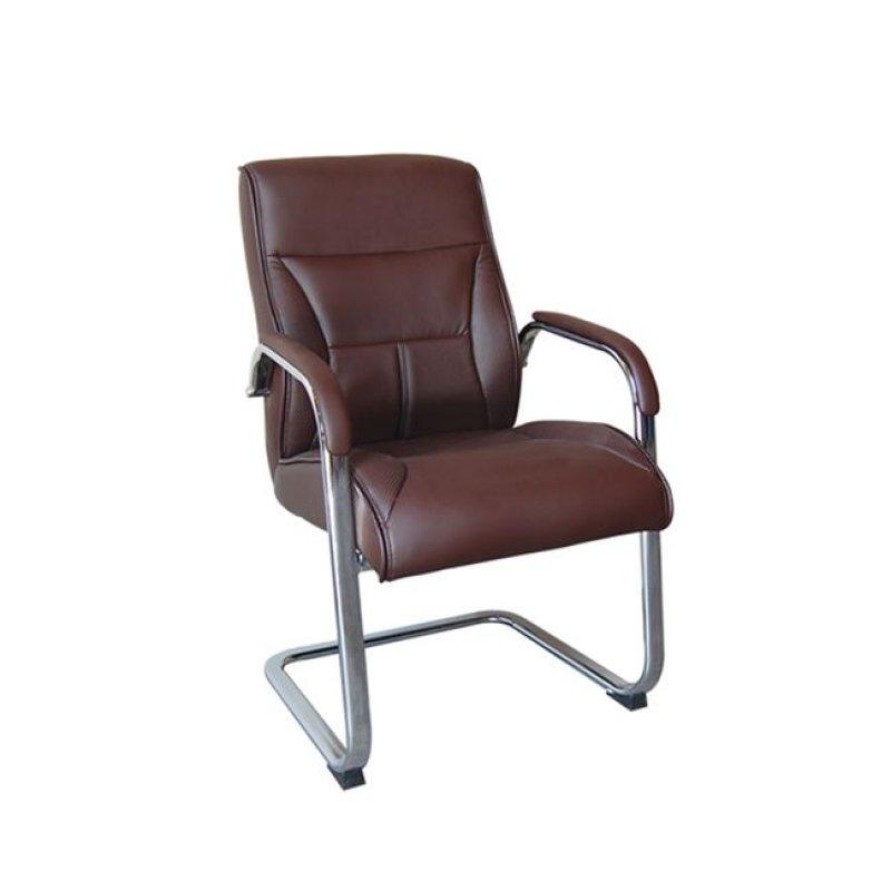 Πολυθρόνα επισκέπτη από τεχνόδερμα σε καφέ χρώμα 59x73x102