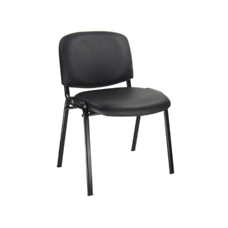 """Καρέκλα επισκέπτη """"SIGMA"""" από τεχνόδερμα σε μαύρο χρώμα 54x51x79"""