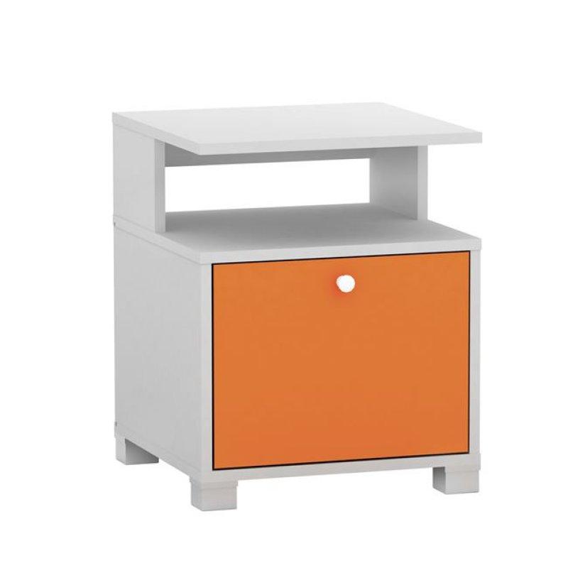"""Κομοδίνο """"DECON"""" σε λευκό-πορτοκαλί χρώμα 40x40x50"""