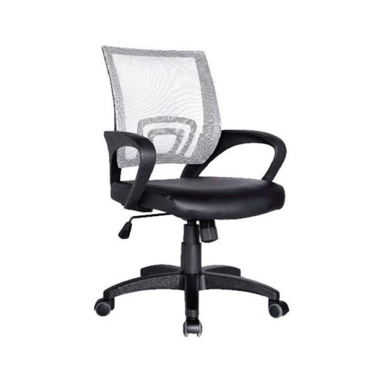 Πολυθρόνα εργασίας από ύφασμα mesh και τεχνόδερμα σε λευκό-μαύρο χρώμα 54x56x91/101