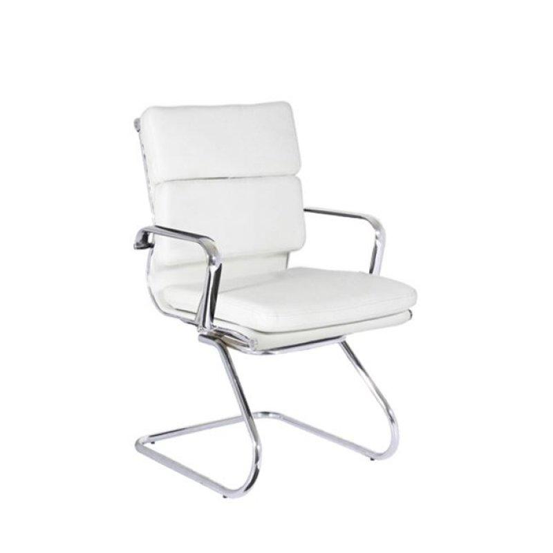 Πολυθρόνα επισκέπτη από τεχνόδερμα σε λευκό χρώμα 54x59x95