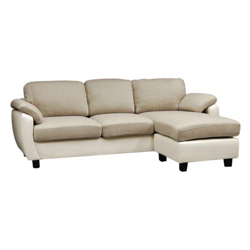 """Καναπές """"JOLLY"""" γωνία-αναστρέψιμος από ύφασμα σε μπεζ και pvc σε λευκό χρώμα 220x146x79"""