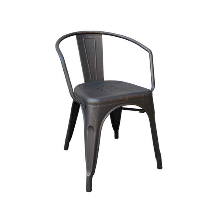 """Πολυθρόνα """"RELIX"""" μεταλλική σε αντικέ μαύρο χρώμα 52x49x72"""