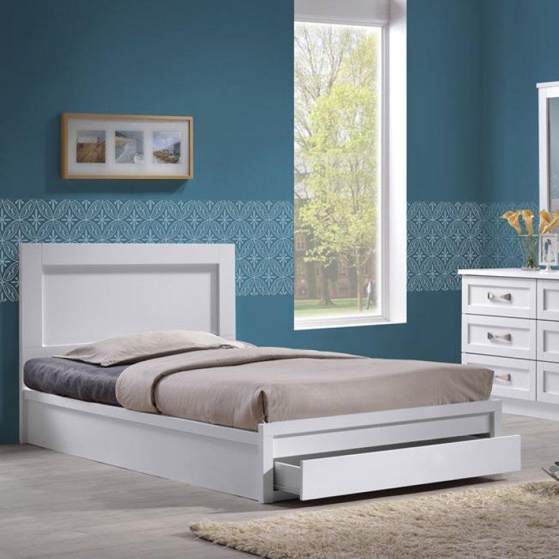 """Κρεβάτι-συρτάρι """"LIFE"""" ημίδιπλο σε χρώμα λευκό 118x207x93"""