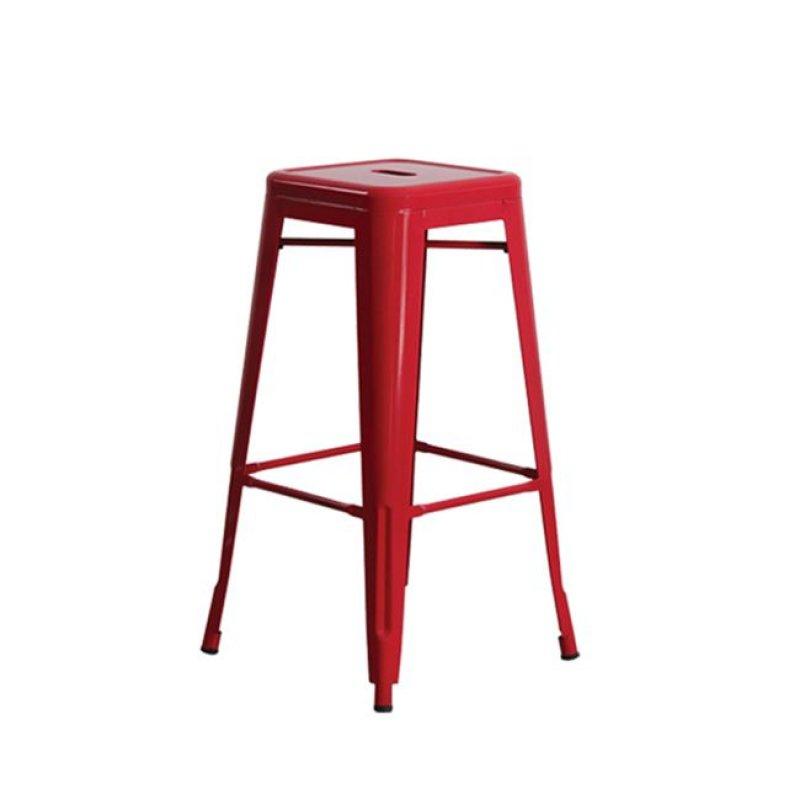 """Σκαμπώ μπαρ """"RELIX BAR"""" μεταλλικό σε κόκκινο χρώμα 43x43x76"""