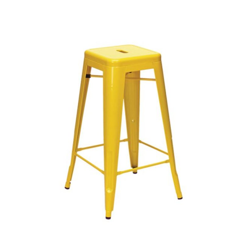 """Σκαμπώ μπαρ """"RELIX BAR"""" μεταλλικό σε κίτρινο χρώμα 43x43x76"""