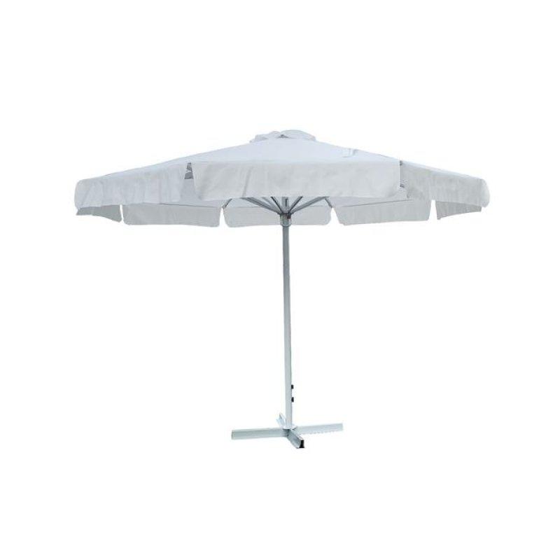 Ομπρέλα βαρέως τύπου αλουμινίου-υφασμάτινη σε λευκό χρώμα 3x3