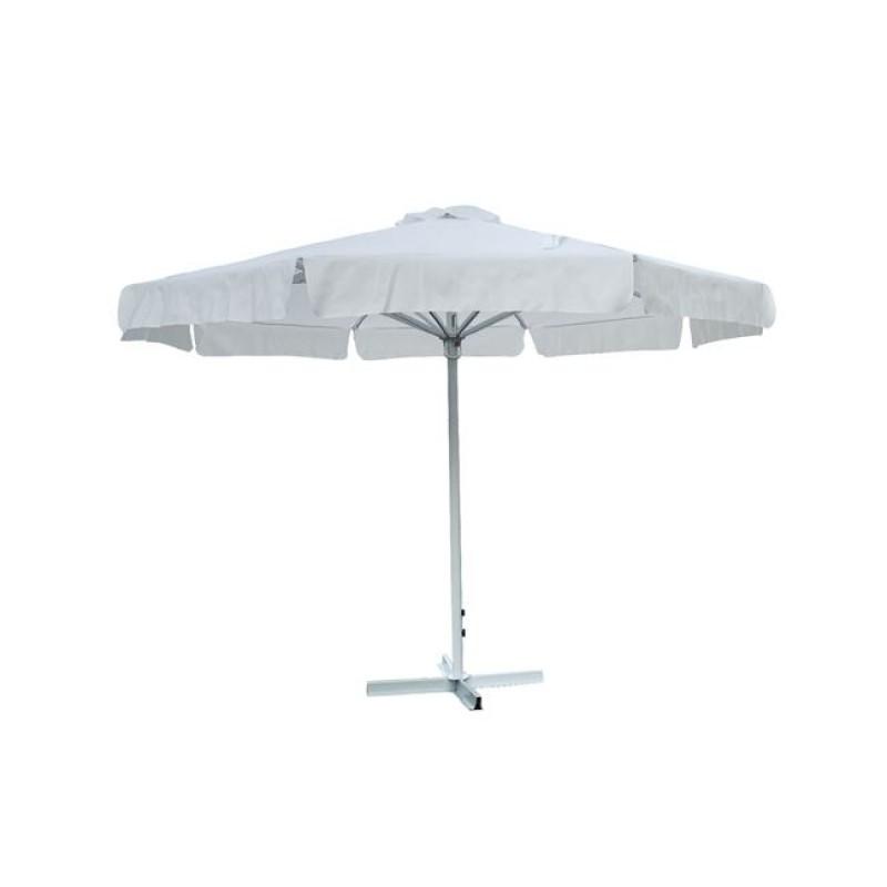 Ομπρέλα αλουμινίου-υφασμάτινη σε λευκό χρώμα Φ3.5