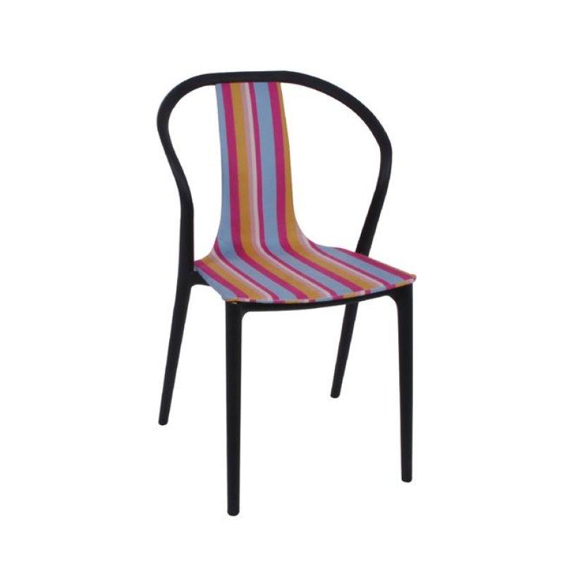 """Καρέκλα """"VISION """" pp-υφασμάτινη ριγέ, πολύχρωμη 57x53x89"""