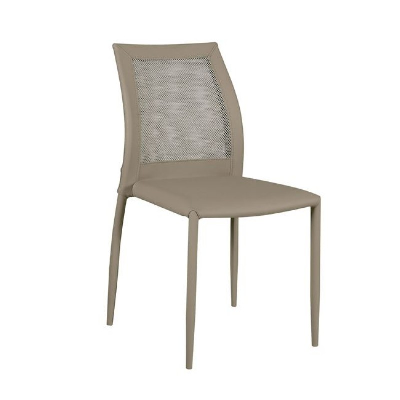 """Καρέκλα """"PARMΑ"""" τεχνόδερμα-mesh χρώματος cappuccino 44x58x89"""