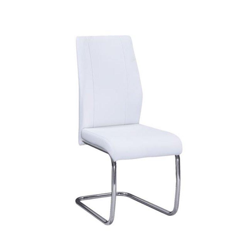"""Καρέκλα """"TULIP """" χρωμίου-τεχνόδερμα χρώματος λευκό 43x57x98"""