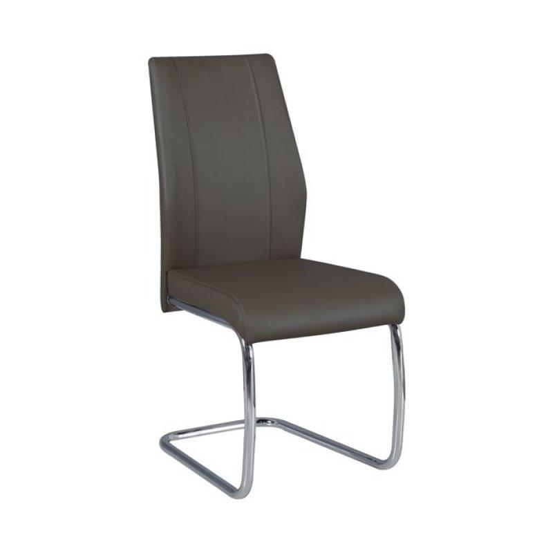 """Καρέκλα """"TULIP """" χρωμίου-τεχνόδερμα χρώματος καφέ mocha 43x57x98"""