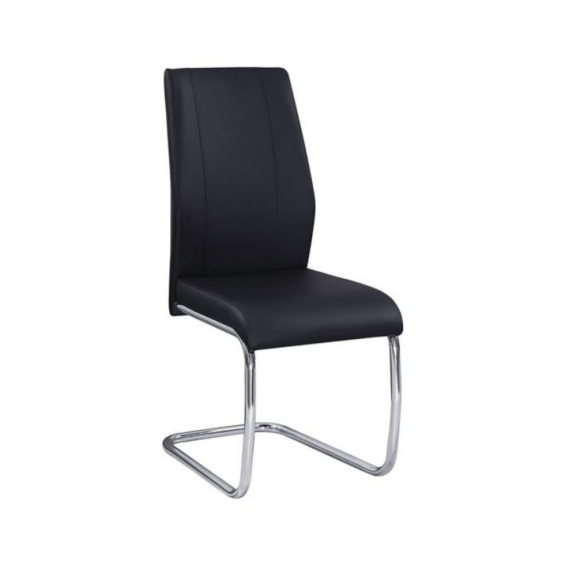 """Καρέκλα """"TULIP """" χρωμίου-τεχνόδερμα χρώματος μαύρο 43x57x98"""