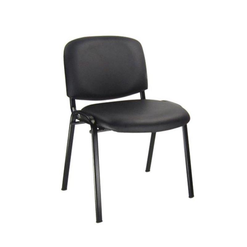 """Καρέκλα επισκέπτη στοιβαζόμενη """"SIGMA"""" από τεχνόδερμα σε μαύρο χρώμα 52x54x79"""
