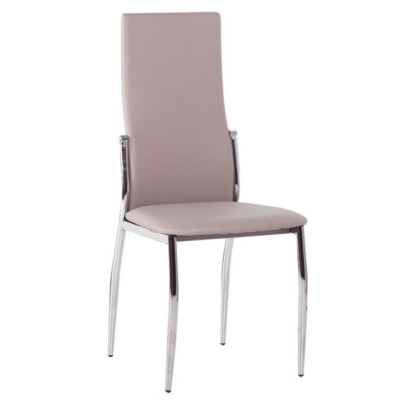 """Καρέκλα """"FRESH K/D"""" χρωμίου-τεχνόδερμα σε χρώμα cappuccino 44x56x100"""