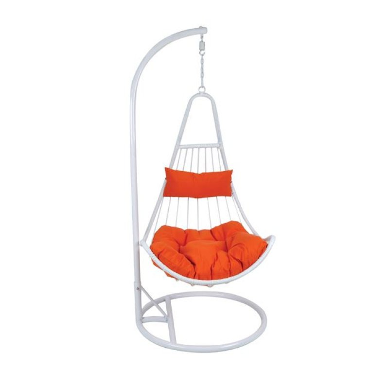 """Πολυθρόνα κρεμαστή """"LOTO"""" wicker σε λευκό-πορτοκαλί χρώμα 83x83x120/203"""