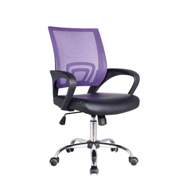 Πολυθρόνα εργασίας χρωμίου από ύφασμα mesh και τεχνόδερμα σε μωβ-μαύρο χρώμα 54x56x91/101