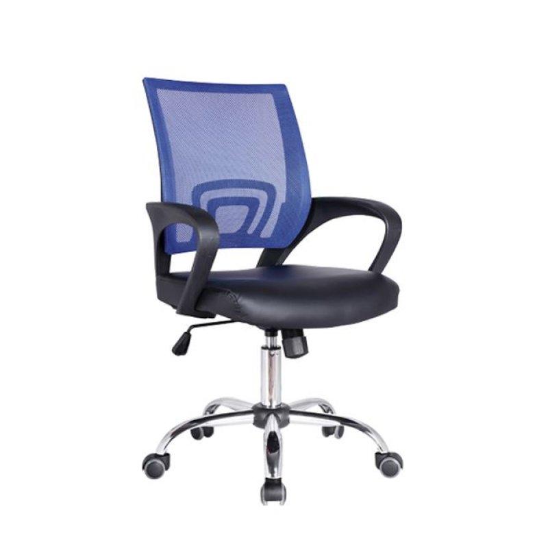 Πολυθρόνα εργασίας χρωμίου από ύφασμα mesh και τεχνόδερμα σε μπλε-μαύρο χρώμα  54x56x91/101