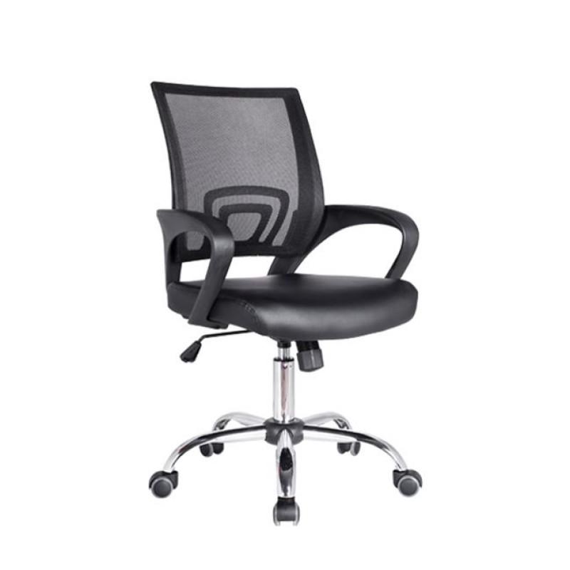 Πολυθρόνα εργασίας χρωμίου από ύφασμα mesh και τεχνόδερμα σε μαύρο χρώμα 54x56x91/101