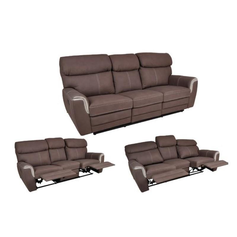 """Καναπές """"LUNA"""" τριθέσιος (relax) υφασμάτινος σε καφέ χρώμα 210x88/153x94"""
