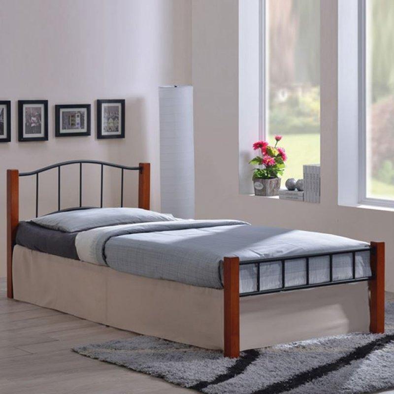 """Κρεβάτι """"PALOMA"""" μονό από μέταλλο-μαύρο, ξύλο-καρυδί 107x212x72"""