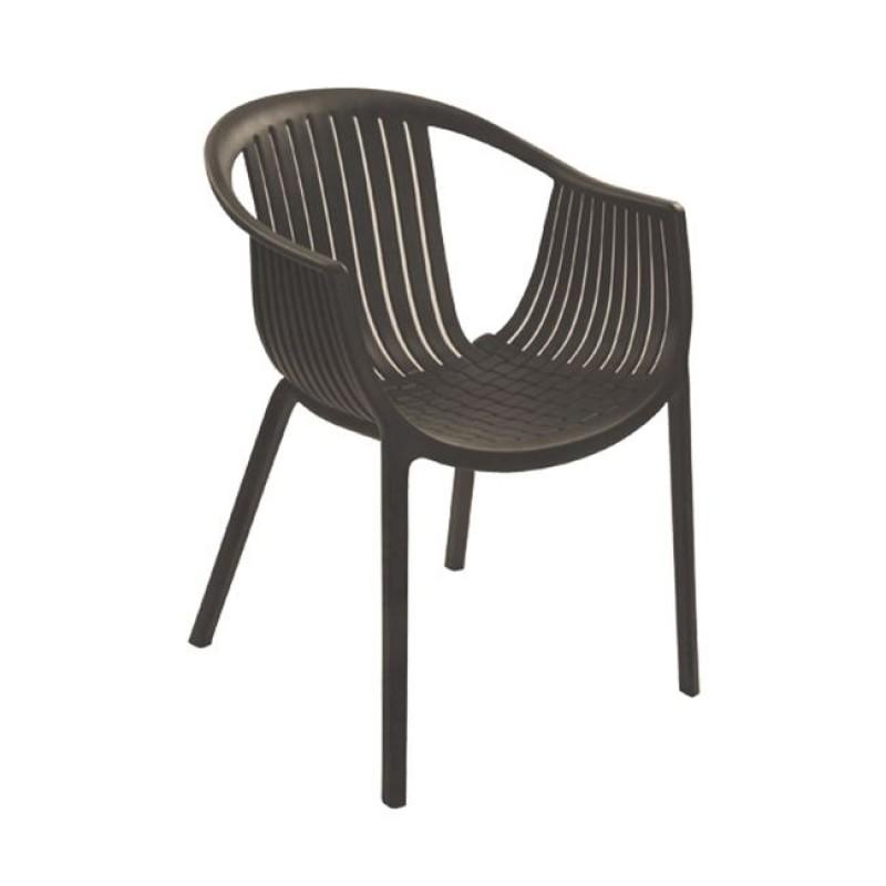 """Πολυθρόνα """"COLOMBO"""" από πολυπροπυλένιο σε καφέ χρώμα 59x56x75"""