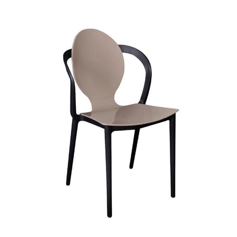 """Καρέκλα """"FOCUS"""" pp σε μπεζ-μαύρο χρώμα 51x48x89"""