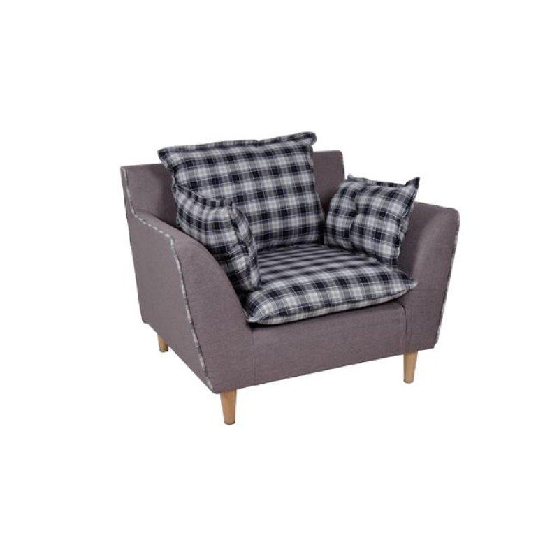"""Πολυθρόνα """"DELLA"""" υφασμάτινη σε καφέ με καρώ μαξιλάρια 93x83x85"""
