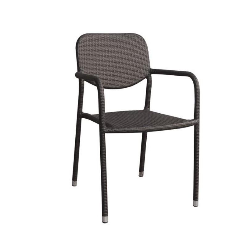 """Πολυθρόνα """"MERCURY"""" μεταλλική από πλέξη wicker σε καφέ χρώμα 55x47x86"""