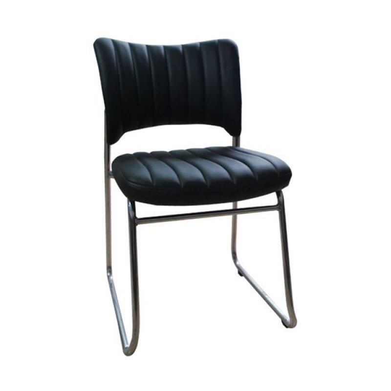 """Καρέκλα επισκέπτη """"VENUS"""" χρωμίου από τεχνόδερμα σε μαύρο χρώμα 45x47x80"""