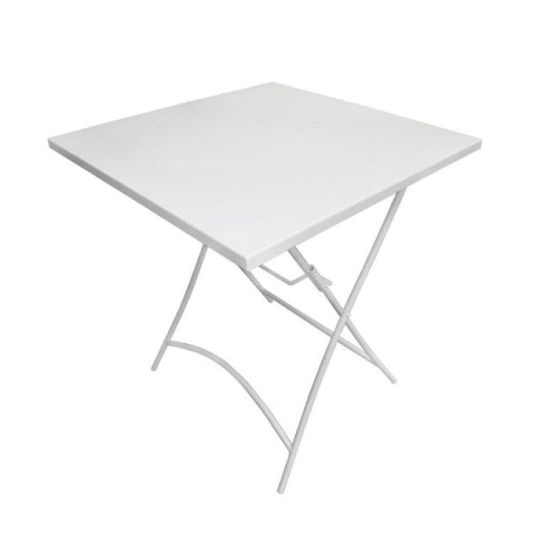 """Τραπέζι """"PARK"""" μεταλλικό πτυσσόμενο σε λευκό χρώμα 70x70x71"""