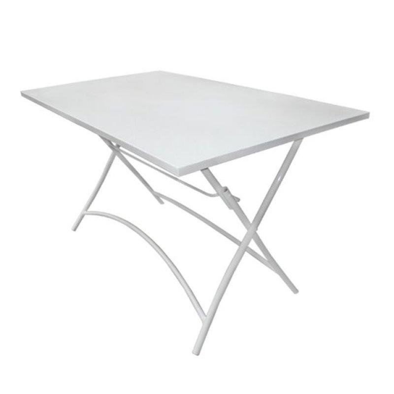 """Τραπέζι """"PARK"""" μεταλλικό πτυσσόμενο σε λευκό χρώμα 110x70x71"""