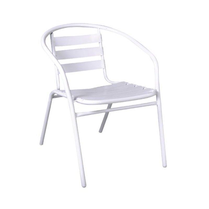 """Πολυθρόνα """"FUNKY"""" από μέταλλο-αλουμίνιο σε λευκό χρώμα 54x57x73"""