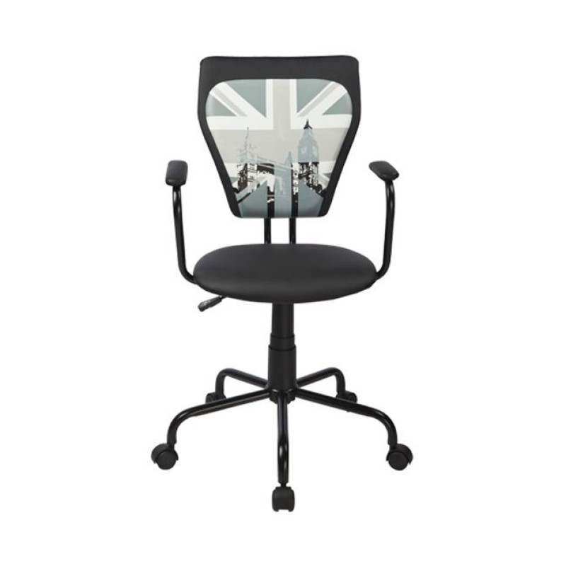 """Πολυθρόνα εργασίας """"CITY UK"""" από τεχνόδερμα σε μαύρο χρώμα 52x52x87/95"""