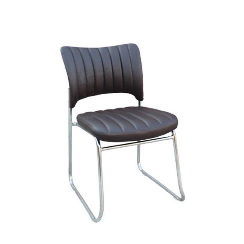 """Καρέκλα επισκέπτη """"VENUS"""" χρώμιου από τεχνόδερμα σε σκούρο καφέ χρώμα 45x47x80"""