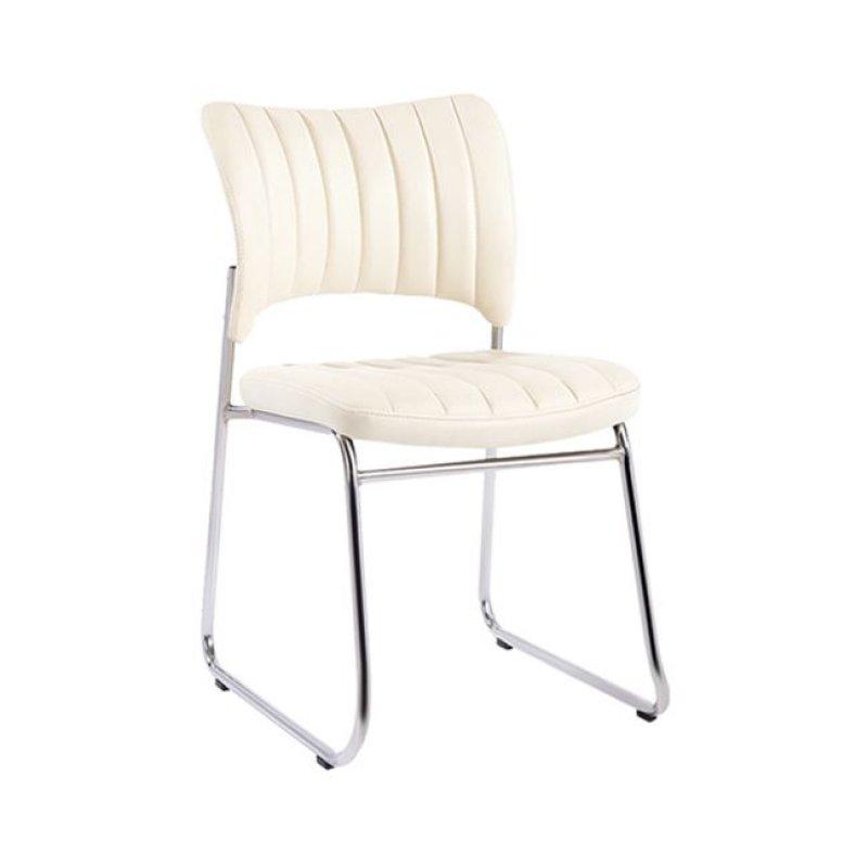 """Καρέκλα επισκέπτη """"VENUS"""" χρώμιου από τεχνόδερμα σε εκρού χρώμα 50x56x84"""