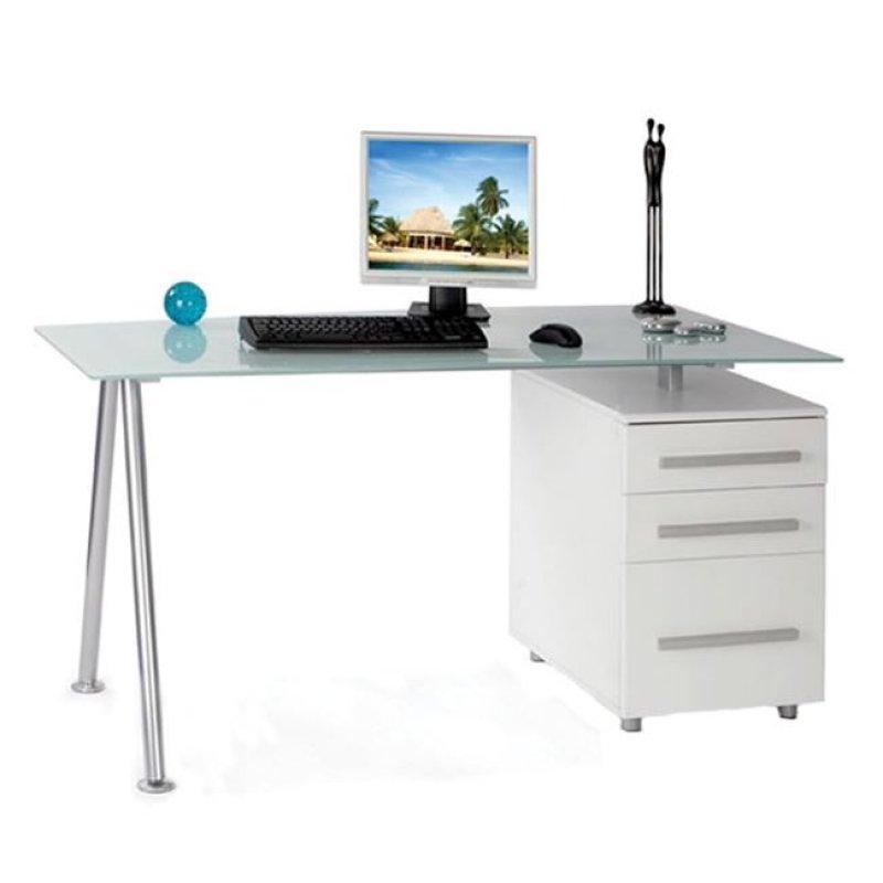 Γραφείο μεταλλικό με γυάλινη λευκή επιφάνεια 150x80x75