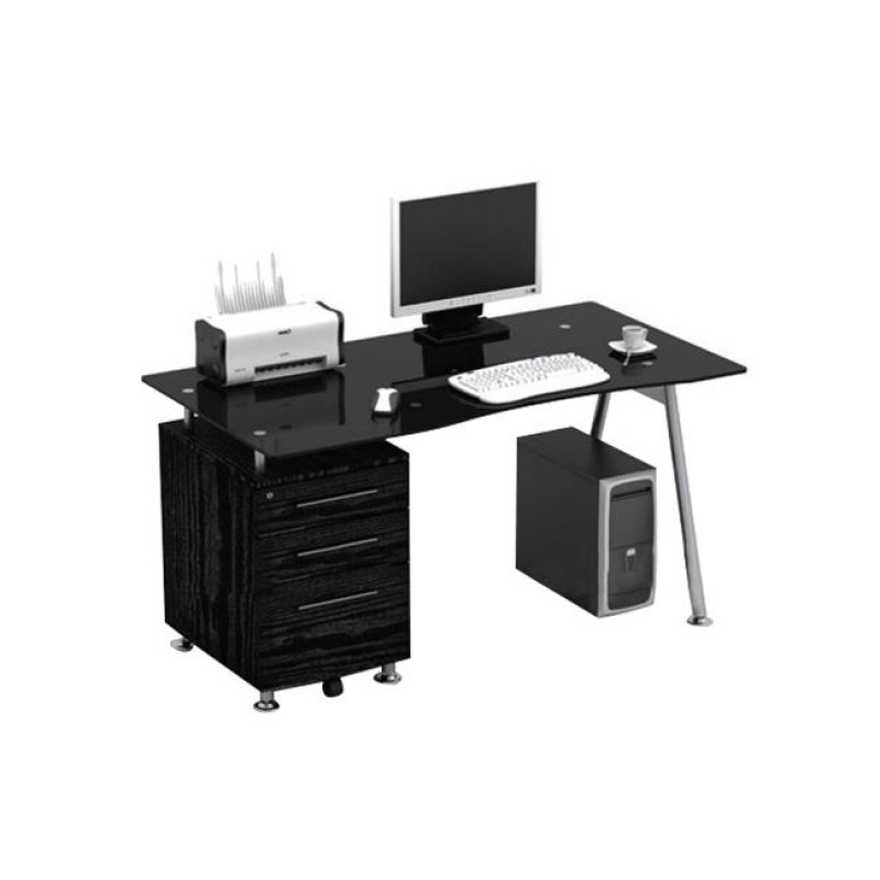Γραφείο μεταλλικό με γυάλινη μαύρη επιφάνεια 150x80x75