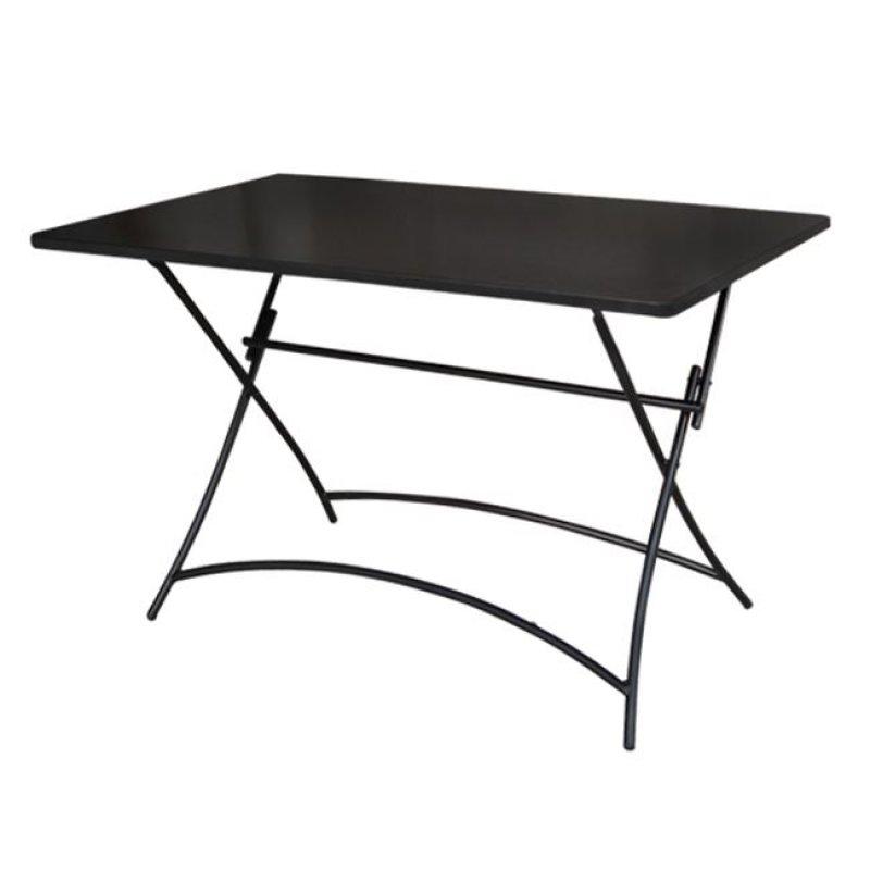 """Τραπέζι """"PARK"""" μεταλλικό πτυσσόμενο σε μαύρο χρώμα 110x70x71"""