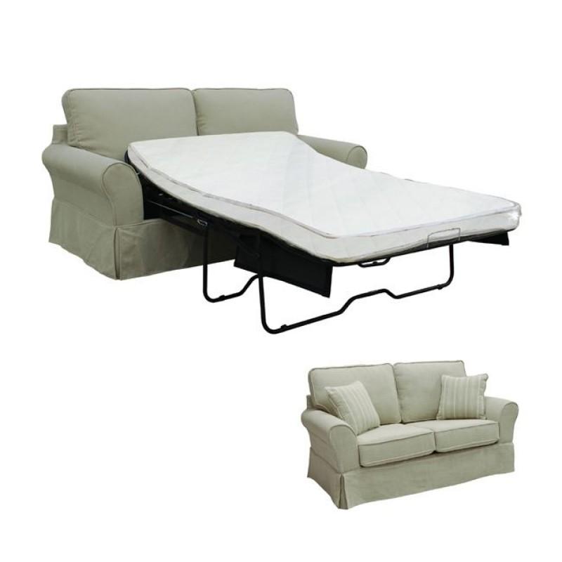 """Καναπές-κρεβάτι """"AURELIA"""" διθέσιος από ύφασμα σε μπεζ χρώμα 205x90x93"""