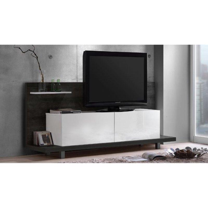 """Έπιπλο τηλεόρασης """"LIFE PANEL"""" σε μαύρο δρυς-λευκό χρώμα 160x40x72"""