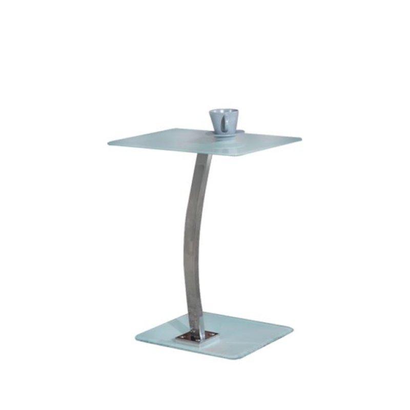 """Τραπεζάκι βοηθητικό LapTop """"SOLID"""" χρωμίο-γυαλί σε λευκό χρώμα 48x32x58"""