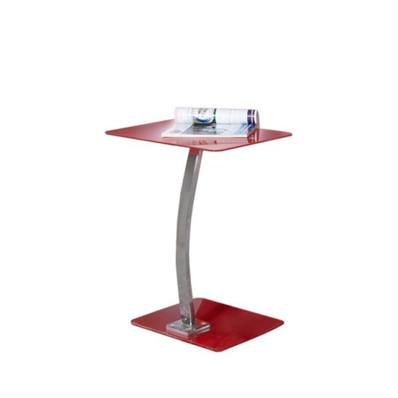 """Τραπεζάκι βοηθητικό LapTop """"SOLID"""" χρωμίο-γυαλί σε κόκκινο χρώμα 48x32x58"""